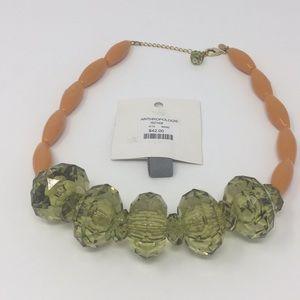 Anthropologie orange and green statement necklace